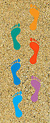 Digitally painted image of a colourful set of footprints in sand
