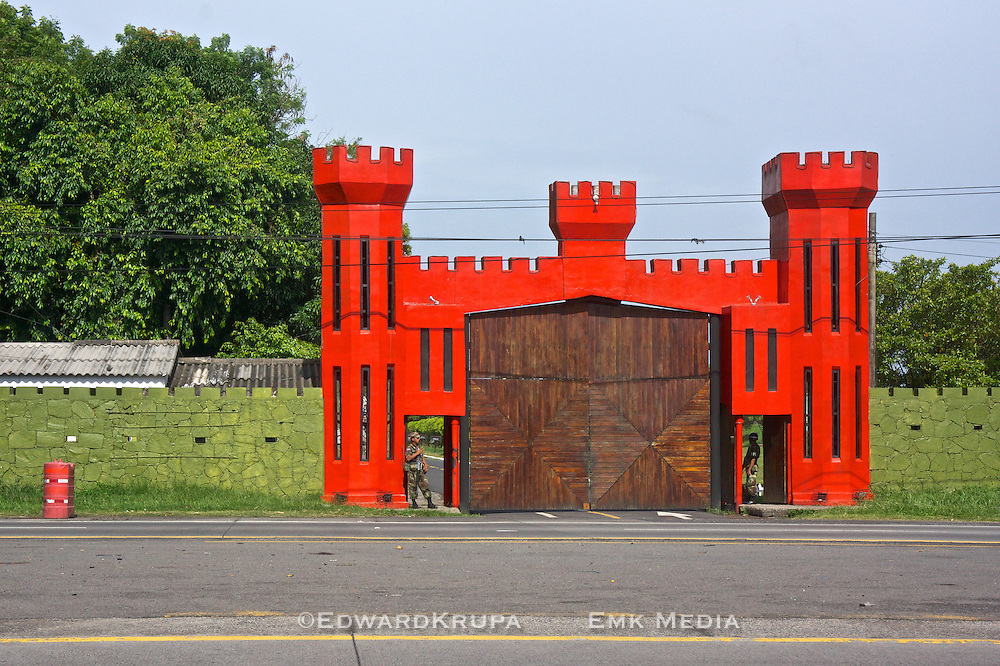 A military Base's gated entrance El Salvador. (more unknown)