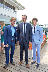 Left to right, LUKE TREADAWAY, ANDRE KONSBRUCK Director of Audi UK and EDDIE REDMAYNE at the Audi International Polo at Guards Polo Club, Windsor Great Park, Egham, Surrey on 26th July 2014.