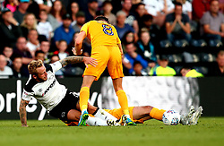 Johnny Russell of Derby County tackles Alan Browne of Preston North End - Mandatory by-line: Robbie Stephenson/JMP - 15/08/2017 - FOOTBALL - Pride Park Stadium - Derby, England - Derby County v Preston North End - Sky Bet Championship