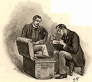 The Adventure of the Musgrave Ritual'.  Dr Watson watching Sherlock Holmes going through mementoes of his old cases. From 'The Adventures of Sherlock Holmes' by Conan Doyle from 'The Strand Magazine' (London, 1893). Illustration by Sidney E Paget, the first artist to draw Sherlock Holmes.  Engraving.