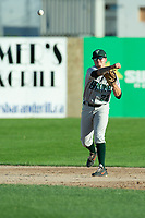 KELOWNA, BC - JULY 24: Tanner parker #22 of the Yakima Valley Pippins throws the ball in against the the Kelowna Falcons  at Elks Stadium on July 24, 2019 in Kelowna, Canada. (Photo by Marissa Baecker/Shoot the Breeze)