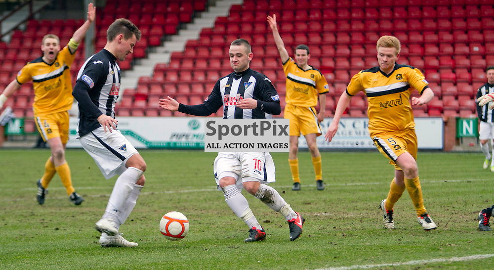 Dunfermline Athletic v Dumbarton Irn Bru First Division East End Park 23 March 2013.Andy Barrowman scores..(c) Craig Brown | StockPix.eu