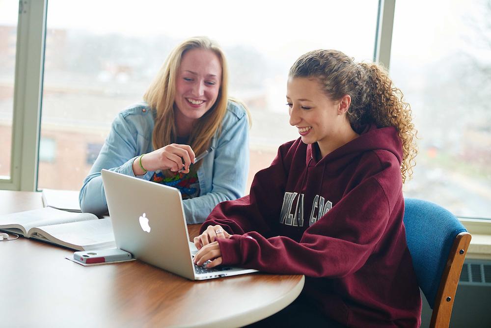 -UWL UW-L UW-La Crosse University of Wisconsin-La Crosse; Books; Chair; Collaborating; Computer; Desk; Inside; Notepad; Reading; Residence dorm; Smiling; Socializing; Studying; Talking