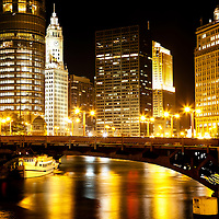 Chicago North State Street Bridge at night with Trump Tower and the Wrigley Building