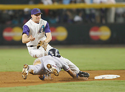 Phoenix,AZ 08-07-04 Atlanta's Rafael Furcal dives back to 2nd base covered by SS Tim Olson of the Arizona Diamondbacks. The Braves won 6-2 in what was a close game until the 9th inning.Ross Mason photo
