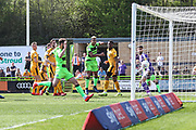 Forest Green Rovers Gavin Gunning(16) heads the ball scores a goal 1-0 during the EFL Sky Bet League 2 match between Forest Green Rovers and Cambridge United at the New Lawn, Forest Green, United Kingdom on 22 April 2019.