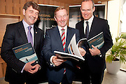 31/07/2012. REPRO FREE FIRST USE.  The Taoiseach Enda Kenny, TD,launched a Government plan to double the value of Ireland's ocean wealth to 2.4% of GDP by 2030 and increase the turnover from our ocean economy to exceed ?6.4bn by 2020. The report, 'Harnessing Our Ocean Wealth - An Integrated Marine Plan for Ireland' was launched at the Marine Institute, Galway with Dr Peter Heffernan, CEO and  Simon Coveney TD, Minister for Agriculture Food and the Marine TD.  Picture :Andrew Downes..