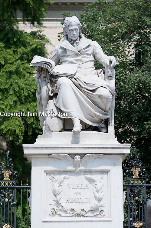 Statue of Wilhelm von Humboldt outside Humboldt University in Berlin Germany