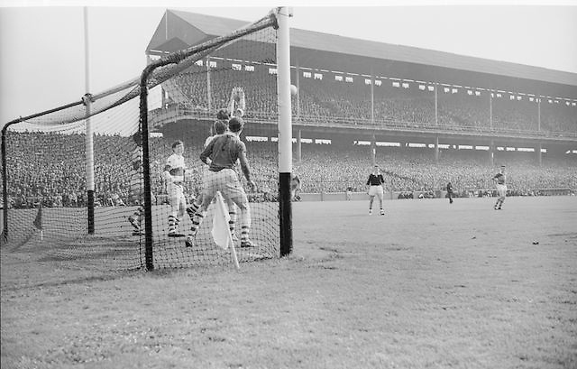 Kerry goalie makes a save during the All Ireland Minor Gaelic Football Final Kerry v. Derry in Croke Park on the 26th September 1965.