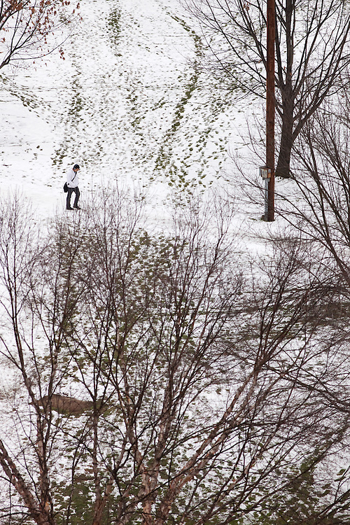 A snow scene on campus in Athens, Ohio on Wednesday, February 6, 2013. Photo by Chris Franz