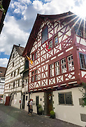 Haus Vetter was built with half-timbered framing on Bodenseeradweg in Stein am Rhein village, Schaffhausen Canton, Switzerland, Europe.