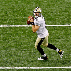 September 23, 2012; New Orleans, LA, USA;  New Orleans Saints quarterback Drew Brees (9) prior to kickoff of a game against the Kansas City Chiefs at the Mercedes-Benz Superdome. Mandatory Credit: Derick E. Hingle-US PRESSWIRE
