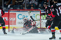 KELOWNA, CANADA - MARCH 14: Taylor Gauthier #35 of the Prince George Cougars makes a second period save against the Kelowna Rockets  on March 14, 2018 at Prospera Place in Kelowna, British Columbia, Canada.  (Photo by Marissa Baecker/Shoot the Breeze)  *** Local Caption ***