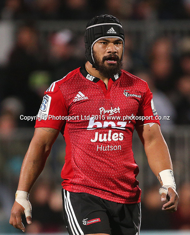 Jordan Taufua of the Crusaders during the Investec Super Rugby game between the Crusaders v Chiefs at AMI Stadium i Christchurch. 17 April 2015 Photo: Joseph Johnson/www.photosport.co.nz