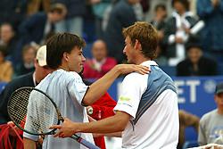 MONTE-CARLO, MONACO - Sunday, April 20, 2003: Juan Carlos Ferrero (Spain) and Guillermo Coria (Argentina) after the final of the Tennis Masters Monte-Carlo. (Pic by David Rawcliffe/Propaganda)