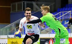 13.02.2016, BSFZ Südstadt, Maria Enzersdorf, AUT, HLA, SG INSIGNIS Handball WESTWIEN vs HSG Raiffeisen Bärnbach/Köflach, Unteres Play Off, 2. Runde, im Bild Gabor Grebenar (Baernbach/Koeflach), Sebastian Frimmel (WestWien)// during Handball League Austria, 2 nd round match between SG INSIGNIS Handball WESTWIEN and HSG Raiffeisen Bärnbach/Köflach at the BSFZ Südstadt, Maria Enzersdorf, Austria on 2016/02/13, EXPA Pictures © 2016, PhotoCredit: EXPA/ Sebastian Pucher