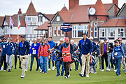 Akshay Bhatia (USA) left and Stewart Hagestad (USA) right walk down the first hole during the Saturday morning Foursomes in the Walker Cup at the Royal Liverpool Golf Club, Saturday, Sept 7, 2019, in Hoylake, United Kingdom. (Steve Flynn/Image of Sport)