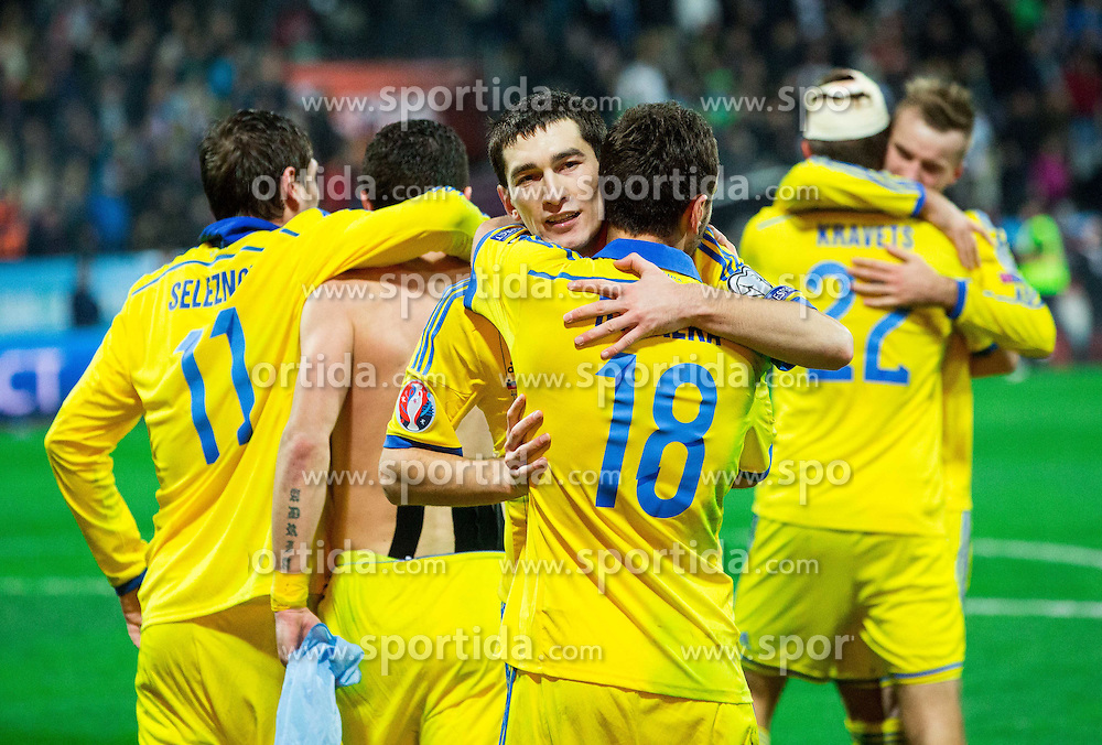 Taras Stepanenko (UKR) and Serhiy Rybalka (UKR) celebrate after winning during the UEFA EURO 2016 Play-off for Final Tournament, Second leg between Slovenia and Ukraine, on November 17, 2015 in Stadium Ljudski vrt, Maribor, Slovenia. Photo by Vid Ponikvar / Sportida