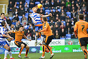 Header on goal from Reading FC defender Paul McShane during the Sky Bet Championship match between Reading and Wolverhampton Wanderers at the Madejski Stadium, Reading, England on 6 February 2016. Photo by Mark Davies.