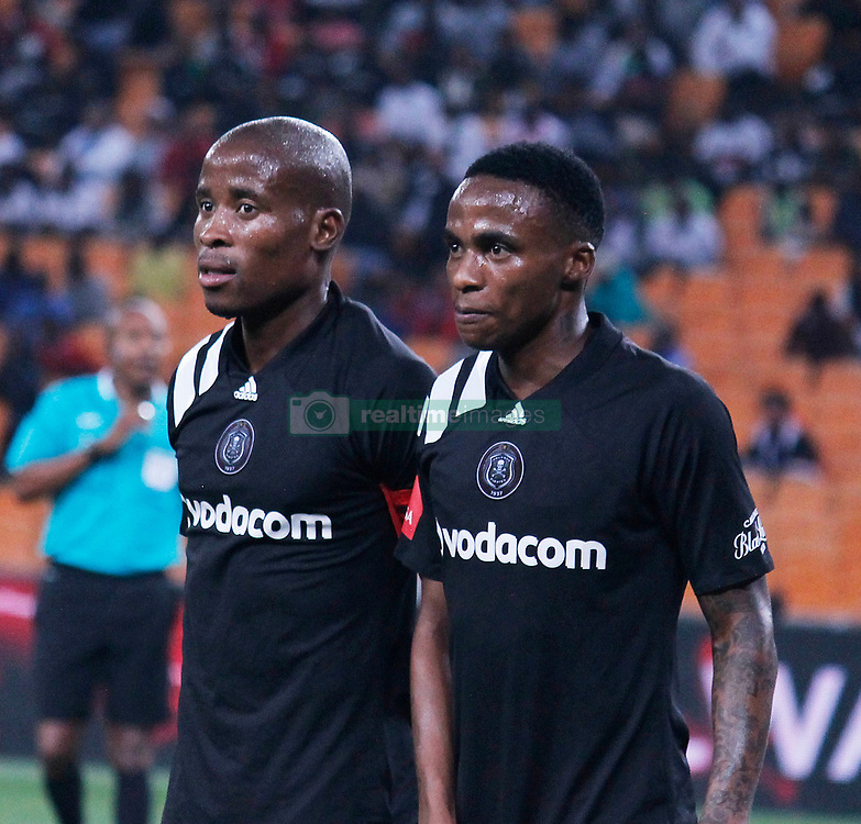 Orlando Pirates captain Thabo Matlaba and Thembinkosi Lorch in a  match between Orlando Pirates  and Cape Town City at  Fnb Stadium on Tuesday September 19, 2017.