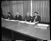 Decimal Currency Board .Press Conference..1971..15.02.1971..02.15.1971..15th February 1971..The Board in charge of the decimal currency changeover held a press conference to applaud the success of the venture..The Board members included: Mr F B O'Rourke, Mr J McCarthy, Mr B m O'Farrell, Mr C E Bowman, Mr S F Hurley,Chairman, Mr P E O'Brien, and Mr G L Wheeler and Mr M D Corbett.
