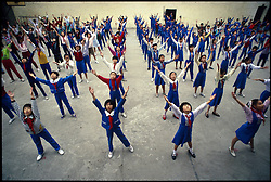 SHANGHAI, CHINA - Children exercise at a typical public school in Shanghai, China.