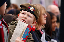 © under license to London News Pictures. 14/11/2010.  Young boy in crowd wearing a beret. The rest of the crowd look onto Centenary Square on Remeberance Sunday in Birmingham. Photo credit should read Jason Patel/London News Pictures