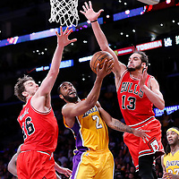 29 January 2015: Los Angeles Lakers guard Wayne Ellington (2) goes for the layup between Chicago Bulls forward Pau Gasol (16) and Chicago Bulls center Joakim Noah (13) during the Los Angeles Lakers 123-118 2OT victory over the Chicago Bulls, at the Staples Center, Los Angeles, California, USA.