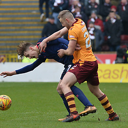 Allan Campbell (Motherwell) and Harry Cochrane (Hearts) during the Scottish Cup quarter final between Motherwell and Hearts at Fir Park, where the home side made it into the semi final draw with a win.<br /> <br /> <br /> (c) Dave Johnston | sportPix.org.uk