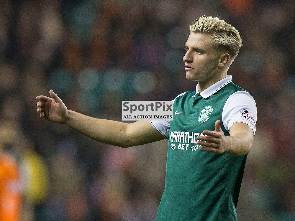 Hibernian FC v Dundee Utd FC<br /> <br /> Jason Cummings (Hibernian) during the Quarter Final of the Scottish League Cup match between Hibernian and Dundee Utd FC at Easter Road Stadium on Wednesday 4 November 2015.<br /> <br /> Picture Alan Rennie.