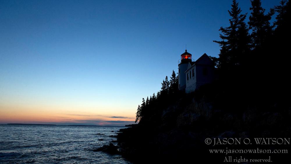 Bass Harbor Head Lighthouse at sunset, Acadia National Park, Maine, United States of America