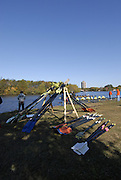 Boston, Massachusetts,  looking down the course, from the vendors area, at the oar racks Forty Second, [42nd] Head of the Charles, 22/10/2006.  Photo  Peter Spurrier/Intersport Images...[Mandatory Credit, Peter Spurier/ Intersport Images] Rowing Course; Charles River. Boston. USA