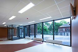 H. Eller music school, college in Tartu, Estonia. Empty corridor. Large windows.