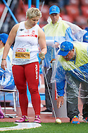 Anita Wlodarczyk of Poland competes in women's hammer throw qualification during the Second Day of the European Athletics Championships Zurich 2014 at Letzigrund Stadium in Zurich, Switzerland.<br /> <br /> Switzerland, Zurich, August 13, 2014<br /> <br /> Picture also available in RAW (NEF) or TIFF format on special request.<br /> <br /> For editorial use only. Any commercial or promotional use requires permission.<br /> <br /> Photo by © Adam Nurkiewicz / Mediasport
