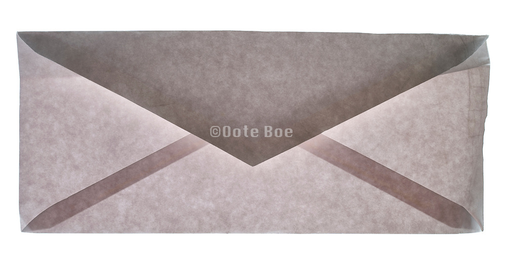 back view of a slightly damaged blank correspondence letter envelope