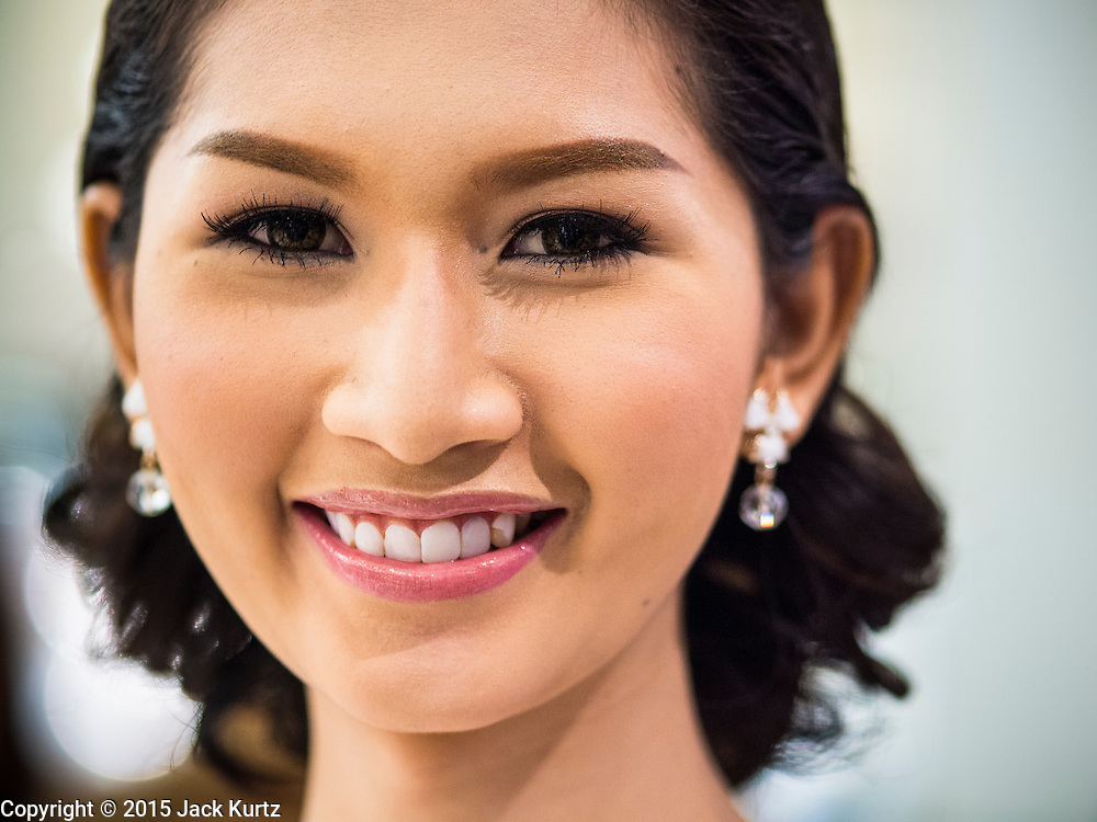 25 MARCH 2015 - BANGKOK, THAILAND: A contestant during the first round of the Miss Tiffany's contest at CentralWorld, a large shopping mall in Bangkok. Miss Tiffany's Universe is a beauty contest for transgender contestants; all of the contestants were born biologically male. The final round will be held on May 8 in the beach resort of Pattaya. The final round is televised of the  Miss Tiffany's Universe contest is broadcast live on Thai television with an average of 15 million viewers.     PHOTO BY JACK KURTZ