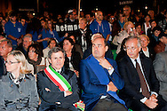 Roma, 16 Ottobre  2012.Commemorazione per le deportazioni degli ebrei dal ghetto di Roma del 16 ottobre 1943..Il sindaco di Roma Gianni Alemanno, il presidente della Provincia di Roma Nicola Zingaretti, Walter Veltroni...Sixty-nine years later, Rome remembers October 16, 1943, when over a thousand Roman Jews, and among them 350 children, were driven from their homes. An official ceremony and candlelight vigil is organized by the Community of Sant'Egidio  and the Jewish Community in memory of the sacrifice Roman Jews rounded up by the Nazis in Rome.