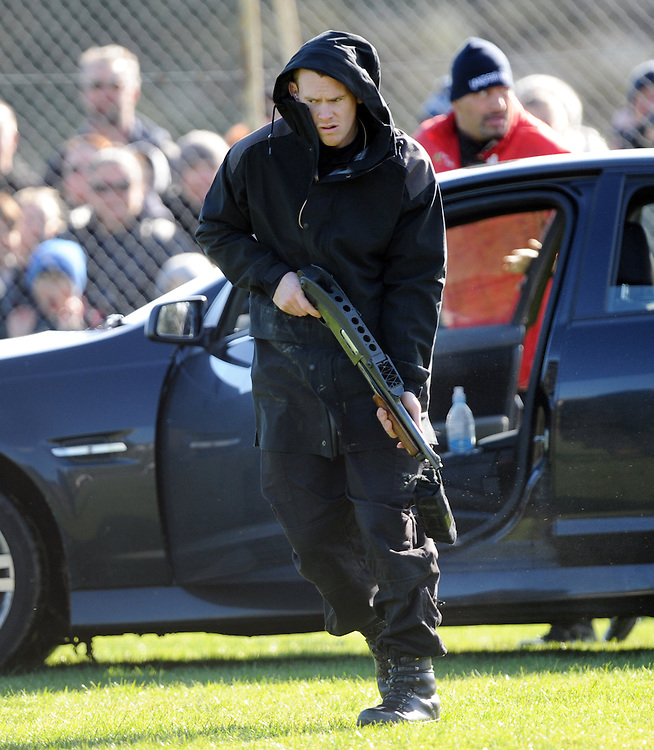 Police AOS (Armed Offenders Squad) take part in a public display to celebrate 50 years of the AOS at the Royal Polce College, Porirua, New Zealand, Saturday, August 09, 2014. Credit:SNPA / Ross Setford