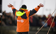 Mike Golding onboard his IMOCA Open60 yacht Gamesa at the start of solo non stop around the world yacht race - The Vendee Globe 2012. Les Sables d Olonne. France. .Credit: Lloyd Images/DPPI