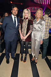 Left to right, EDUARDO SANCHEZ, CHARLOTTE WATTS and JULIET HERD at a party to celebrate the 1st anniversary of Hello! Fashion Monthly magazine held at Charlie, 15 Berkeley Street, London on 14th October 2015.
