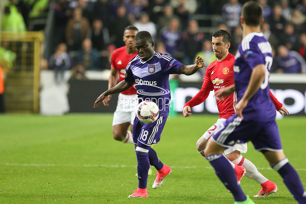 Anderlecht Midfielder Frank Acheampong battles with Henrikh Mkhitaryan Midfielder of Manchester United during the UEFA Europa League Quarter-final, Game 1 match between Anderlecht and Manchester United at Constant Vanden Stock Stadium, Anderlecht, Belgium on 13 April 2017. Photo by Phil Duncan.