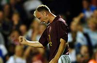 Photo: Henry Browne.<br /> Arsenal v FC Thun. UEFA Champions League.<br /> 14/09/2005.<br /> Dennis Bergkamp of Arsenal celebrates the winning goal.