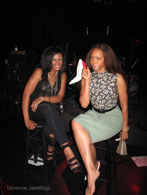 24 June-New York, NY-  l to r: Erykah Badu and Beverly Bond onstage at the 1st Annual Black Girl Rock! & Soul Tour Celebrating Dynamic Woman in Music - LA Jam Session Presented by GM and held at the Roxy on June 24, 2011 in Los Angeles, California . Photo Credit: Terrence Jennings