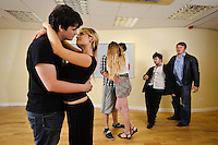 """Selected cast members of the stage play """"Stags & Hens' seen here in rehearsal. Pictured LtoR  Seb Pryboda, Emily Potter, Kurt Tobin, Madison Coupland, Tim Bettridge, Andy Wilson,"""