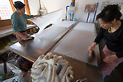 Korean Traditional Paper Institute. Han-ji (traditional Korean paper from mulberry bark) making demonstration. Drying of fresh sheets.