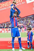 FC Barcelona's defender Gerard Pique with his son after Copa del Rey (King's Cup) Final between Deportivo Alaves and FC Barcelona at Vicente Calderon Stadium in Madrid, May 27, 2017. Spain.<br /> (ALTERPHOTOS/BorjaB.Hojas)