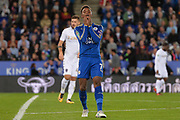 Leicester City midfielder Demarai Gray (7) reacts after a missed opportunity during the EFL Cup match between Leicester City and Leeds United at the King Power Stadium, Leicester, England on 24 October 2017. Photo by Jon Hobley.