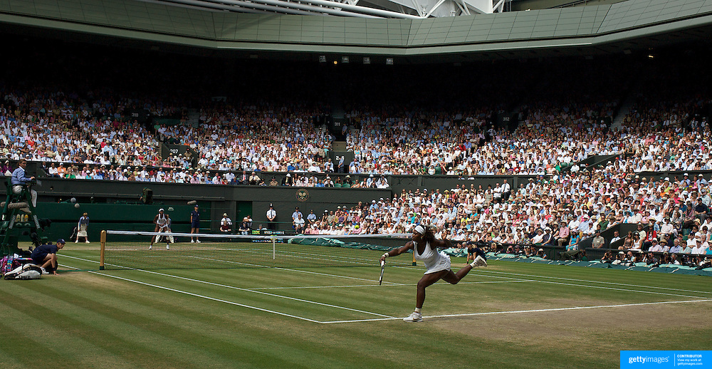 Serena Williams, USA, in action during her victory over  Venus Williams, USA, during the Ladies Singles Final at the All England Lawn Tennis Championships at Wimbledon, London, England on Saturday, July 04, 2009. Photo Tim Clayton