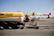 ROMA. UN AEREO CANADAIR CL-415 DELLA FLOTTA ANTINCENDIO DELLA PROTEZIONE CIVILE IN SOSTA ALL'AEROPORTO DI CIAMPINO